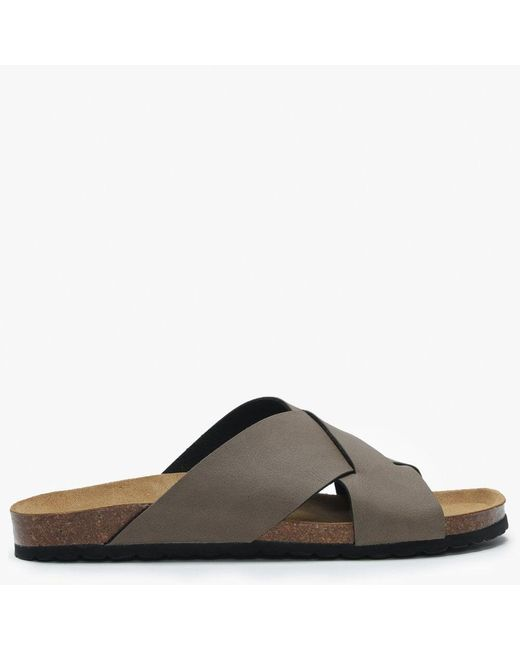 Daniel Brown Mandel Taupe Cross Strap Sliders for men