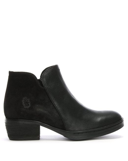 Fly London Cled Black Leather Ankle Boots