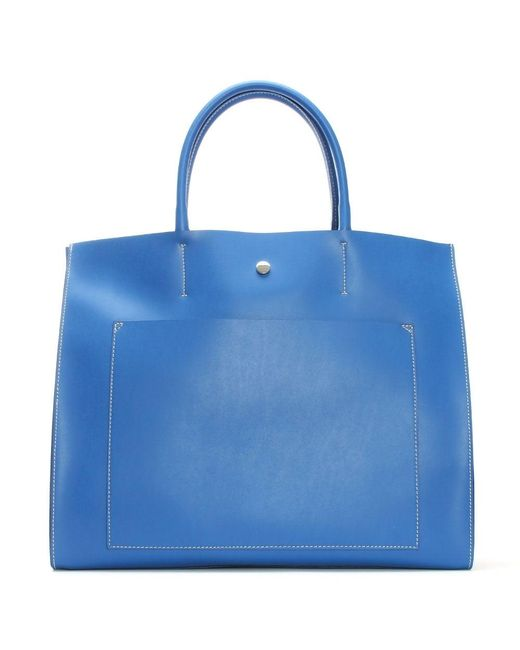 Daniel | Coast Blue Leather Unlined Front Pocket Tote Bag | Lyst
