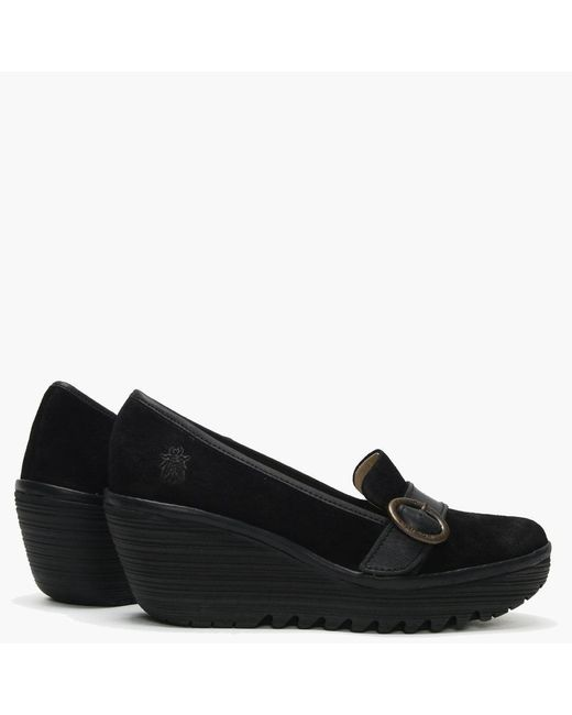 c9d5326eced Fly London Yond Black Suede Wedge Loafers in Black - Save 29% - Lyst