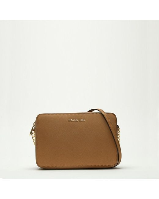 Michael Kors - Brown East West Large Luggage Saffiano Leather Cross-Body Bag - Lyst
