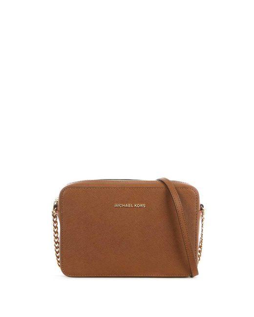 Michael Kors | Brown Jetset Travel Large Tan Leather Ew Cross-Body Bag | Lyst