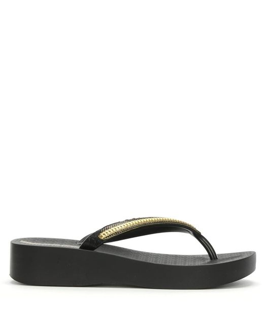 Ipanema - Mesh Black Wedge Flip Flops - Lyst