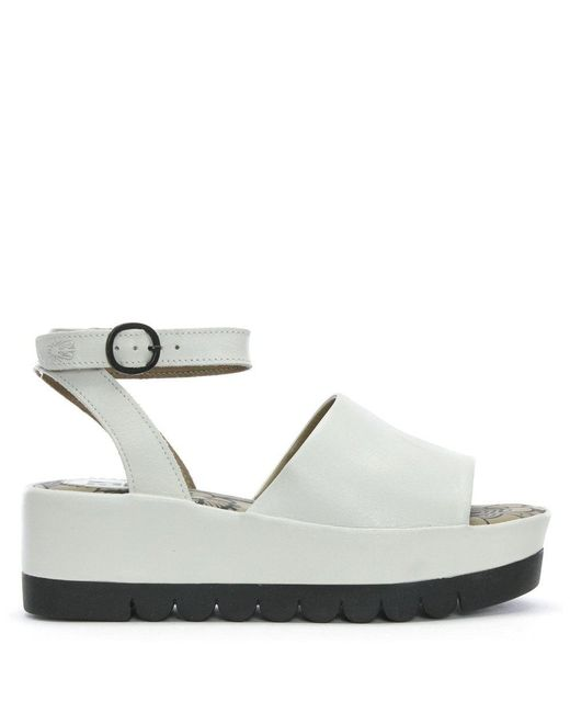 99c5f610b918 Lyst - Fly London Booz White Leather Flatform Sandals in White