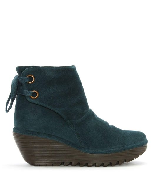 Fly London | Green Yama Petrol Suede Wedge Ankle Boots | Lyst