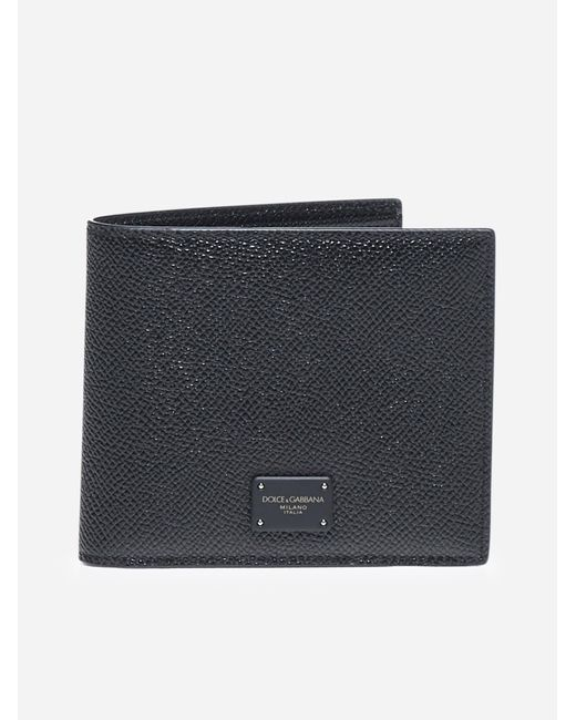 Dolce & Gabbana Black Leather Wallet With Logo Plaque for men