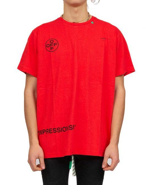 3299ea40d934 Lyst - Off-White c o Virgil Abloh Logo Stencil Print T-shirt in Red ...