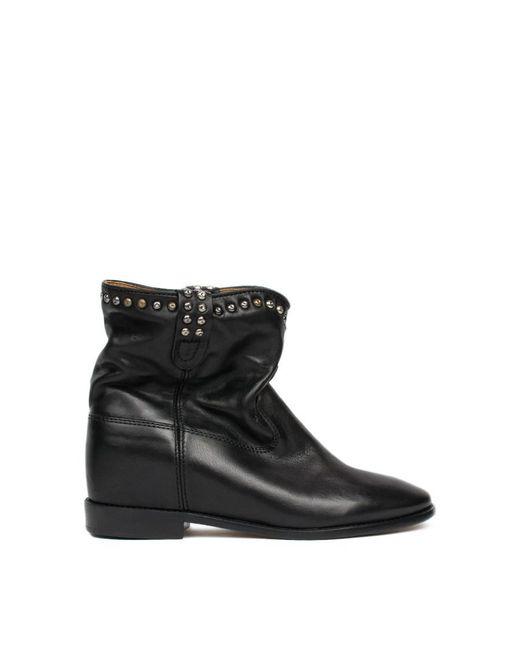 isabel marant cluster leather ankle boots in black lyst. Black Bedroom Furniture Sets. Home Design Ideas