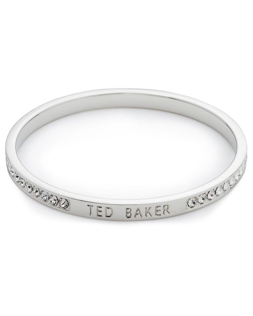 Ted Baker | Metallic Clem Narrow Crystal Band Bangle | Lyst