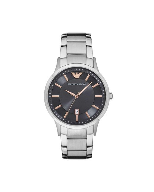 Emporio Armani - Metallic Renato Silver Stainless Steel Watch for Men - Lyst