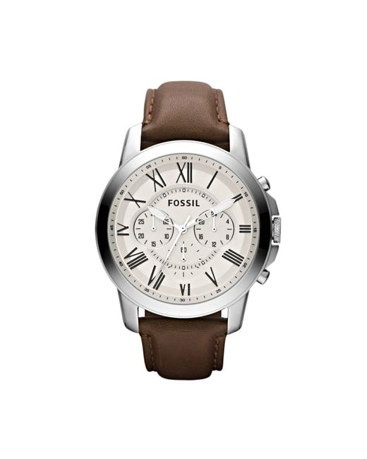 Fossil | Brown Grant Chronograph Leather Men's Watch for Men | Lyst
