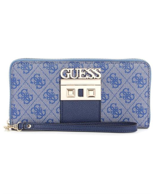 Guess - Blue Logo Luxe Large Zip Around Wallet - Lyst