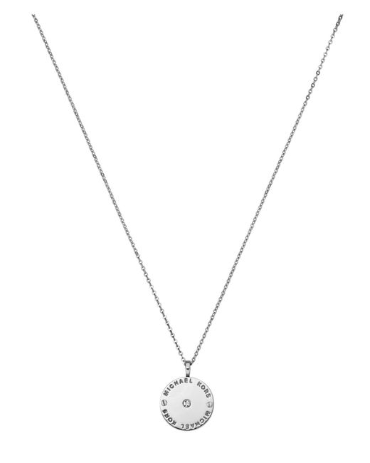 Michael Kors | Metallic Heritage Silver Logo Pendant Necklace | Lyst