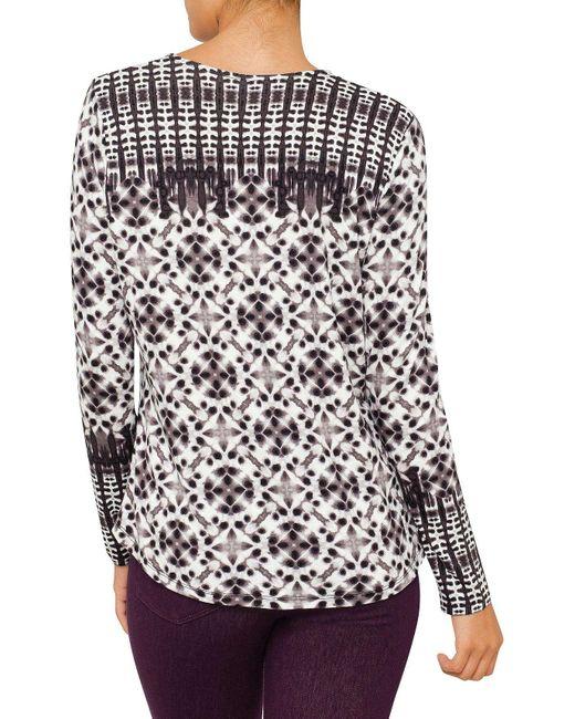 NYDJ   Gray Batik Print Long Sleeve Top   Lyst