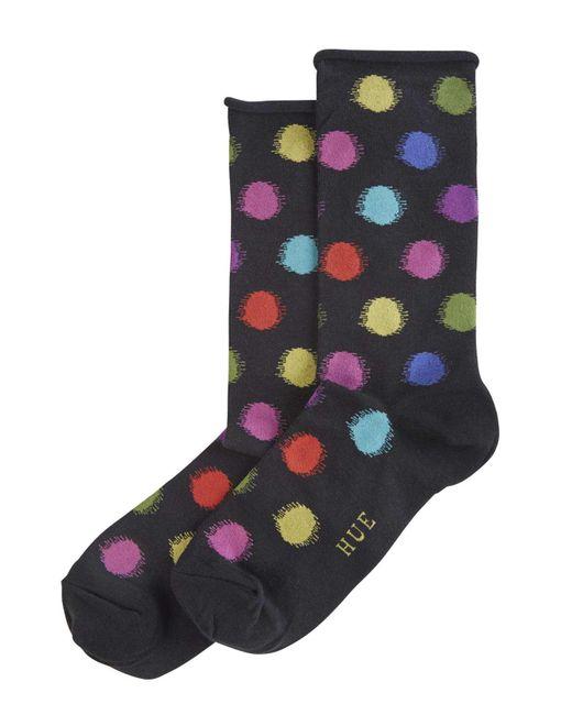 Hue   Black Blurred Dots Roll Top Sock   Lyst