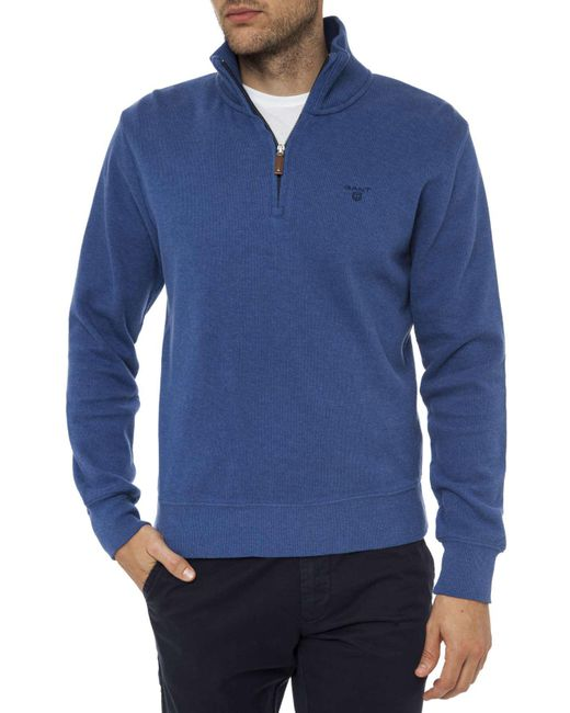 Gant | Blue Sacker Rib Half Zip Collar for Men | Lyst