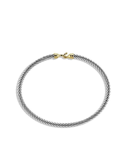 David Yurman - Metallic Cable Collectibles Buckle Bangle Bracelet With 18k Gold, 3 Mm - Lyst