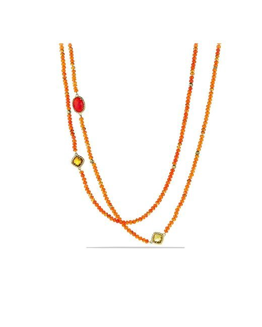 David Yurman - Dy Signature Bead Necklace With Orange Chalcedony And Carnelian In 18k Gold - Lyst