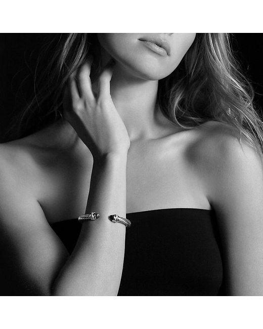 David Yurman | Cable Classic Crossover Bracelet With Blue Topaz And Diamonds, 7mm | Lyst