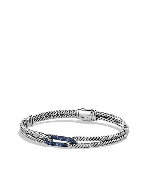 David Yurman - Metallic Petite Pavé Mini Loop Bracelet With Blue Sapphires, 6mm - Lyst