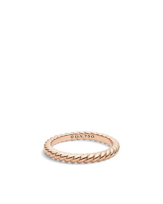 David Yurman | Pink Dy Unity Cable Wedding Band In 18k Rose Gold, 2.45mm | Lyst