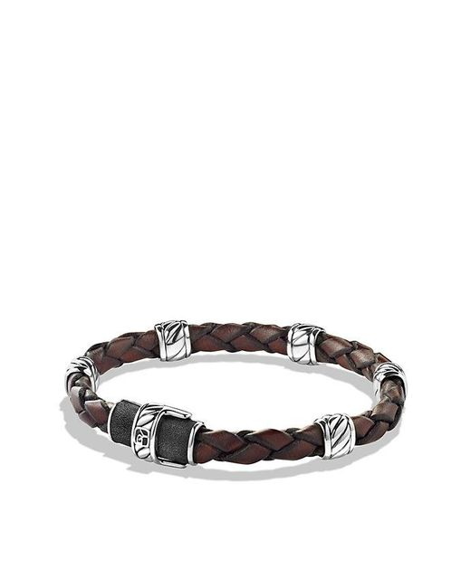 David Yurman | Cable Classic Leather Station Bracelet In Brown for Men | Lyst