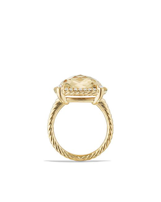 David Yurman | Metallic Chatelaine Pave Bezel Ring With Champagne Citrine And Diamonds In 18k Gold, 14mm | Lyst