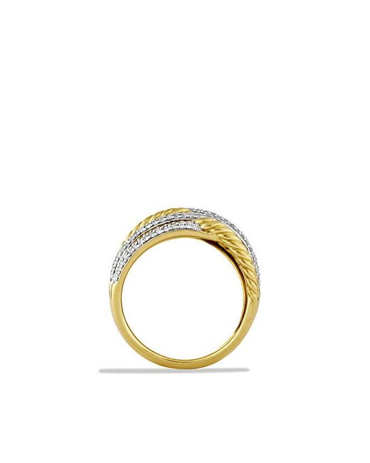 David Yurman - Metallic Labyrinth Triple-loop Ring With Diamonds In 18k Gold - Lyst