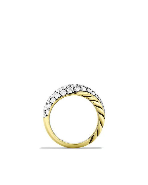 David Yurman | Metallic Crossover Large Ring With Diamonds In 18k Gold | Lyst