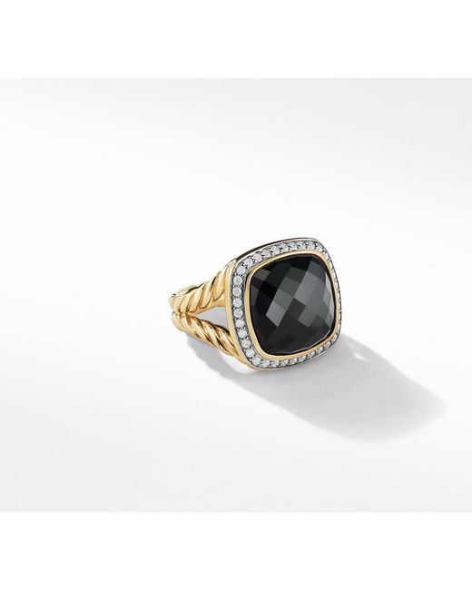 David Yurman - Albion® Ring With Black Onyx And Diamonds In 18k Gold, 14mm - Lyst
