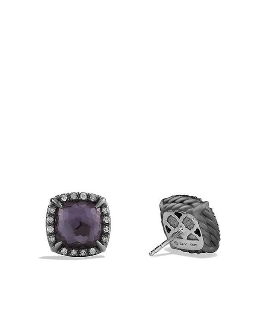 David Yurman | Châtelaine Stud Earrings With Black Orchid And Gray Diamonds | Lyst