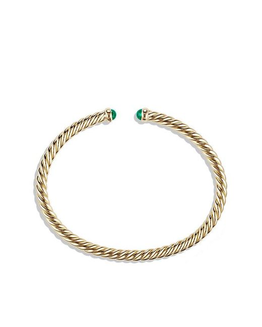 David Yurman | Green Cable Spira Bracelet With Emeralds In 18k Gold, 4mm | Lyst