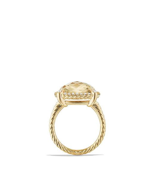 David Yurman - Metallic Chatelaine Pave Bezel Ring With Champagne Citrine And Diamonds In 18k Gold, 14mm - Lyst