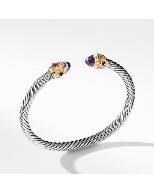 David Yurman - Metallic Renaissance Bracelet With Amethyst, Pink Tourmaline, Rhodalite Garnet And 14k Gold, 5mm - Lyst