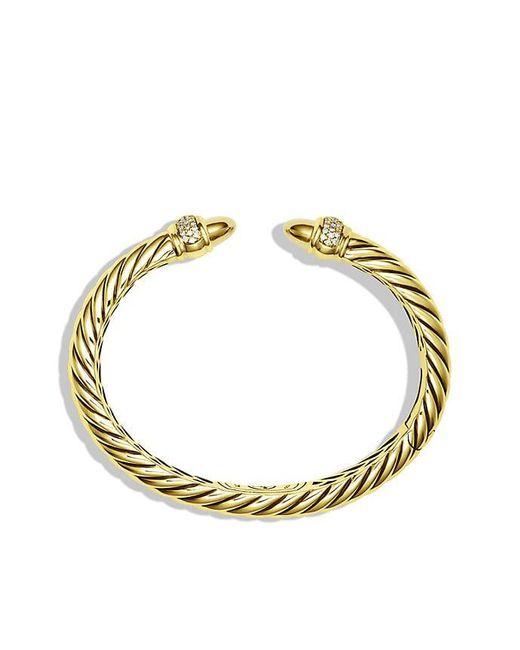 David Yurman | Metallic Waverly Bracelet With Diamonds In 18k Gold, 5mm | Lyst