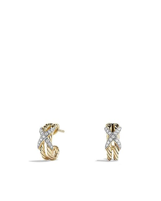 David Yurman | Metallic X Double Cable Hoop Earrings With Diamonds In 18k Gold | Lyst