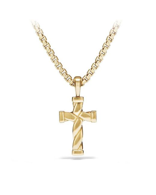 David Yurman - Metallic Cable Classics Cross Pendant In 18k Gold for Men - Lyst