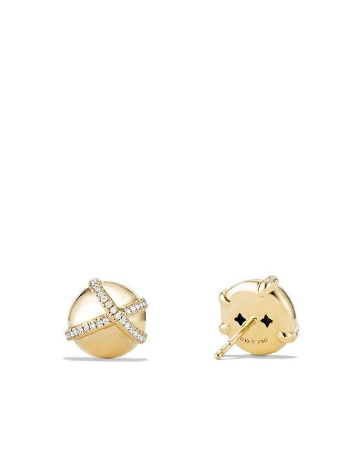 David Yurman | Metallic Solari Pave Wrap Stud Earrings With Diamonds In 18k Gold | Lyst