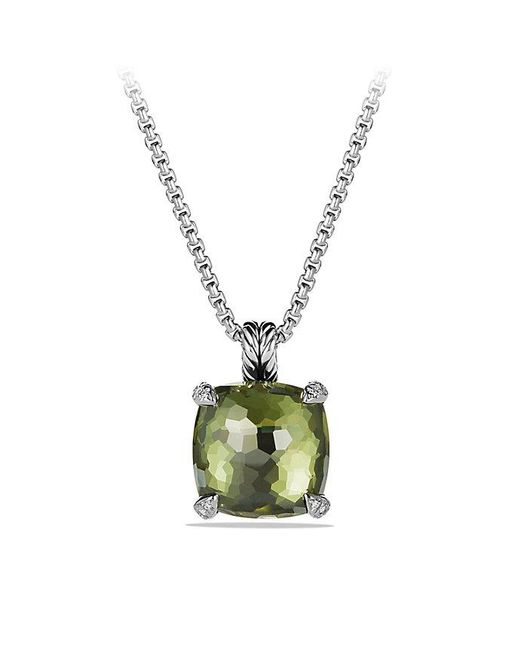 David Yurman - Metallic Châtelaine® Pendant Necklace With Green Orchid And Diamonds, 14mm - Lyst