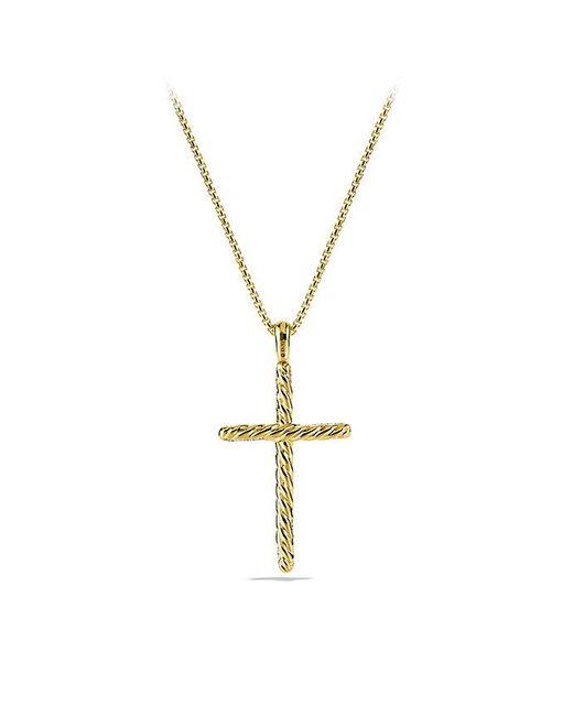 David Yurman | Metallic Willow Cross Necklace With Diamonds In 18k Gold | Lyst