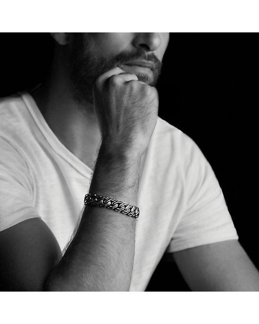David Yurman | Curb Chain Bracelet With Black Diamonds for Men | Lyst