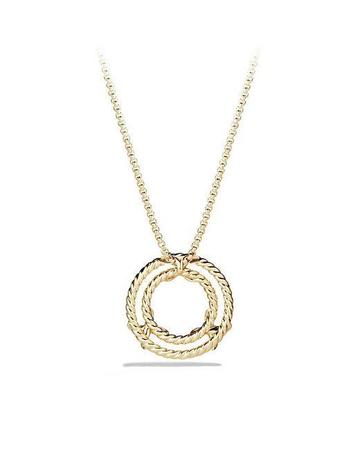 David Yurman | Metallic X Circle Pendant Necklace With Diamonds In 18k Gold | Lyst