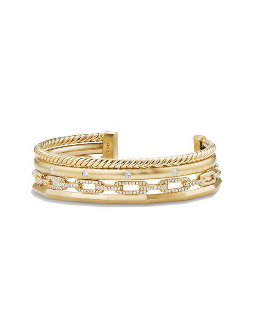 David Yurman - Metallic Stax Medium Cuff Bracelet With Diamonds In 18k Gold, 14mm - Lyst
