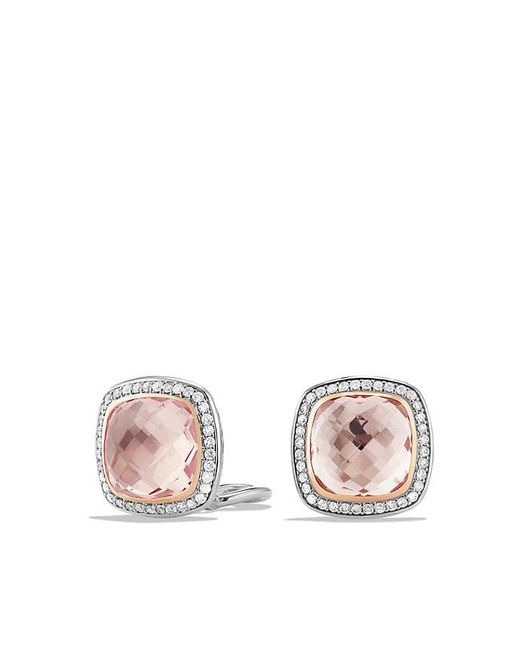 David Yurman | Pink Albion Earrings With Morganite And 18k Rose Gold, 11mm | Lyst