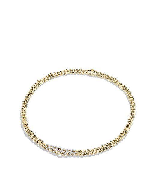 David Yurman   Metallic Petite Pave Necklace In 18k Gold   Lyst