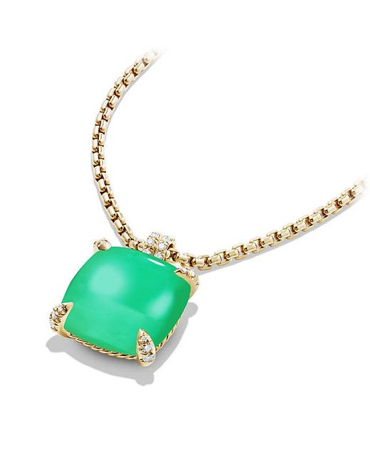 David Yurman - Green Châtelaine Pendant With Chrysoprase And Diamonds In 18k Gold, 20mm - Lyst