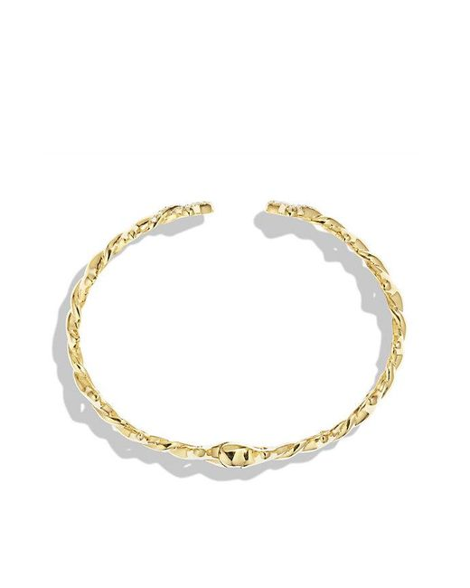 David Yurman   Metallic Venetian Quatrefoil Single-row Cuff Bracelet With Diamonds In 18k Gold, 9mm   Lyst