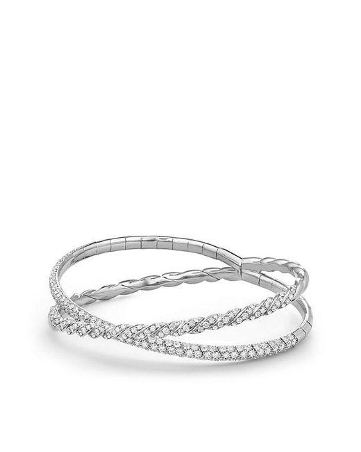 David Yurman - Pavéflex Two Row Bracelet With Diamonds In 18k White Gold - Lyst