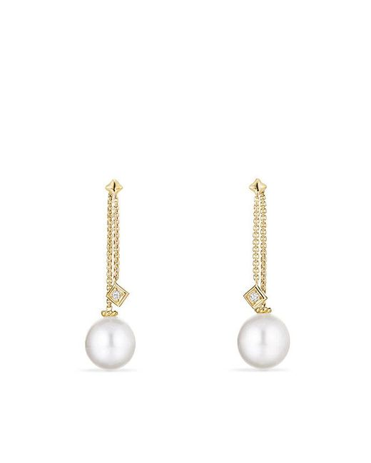 David Yurman | Solari Drop Earrings In 18k Gold With Diamonds And South Sea White Pearl | Lyst