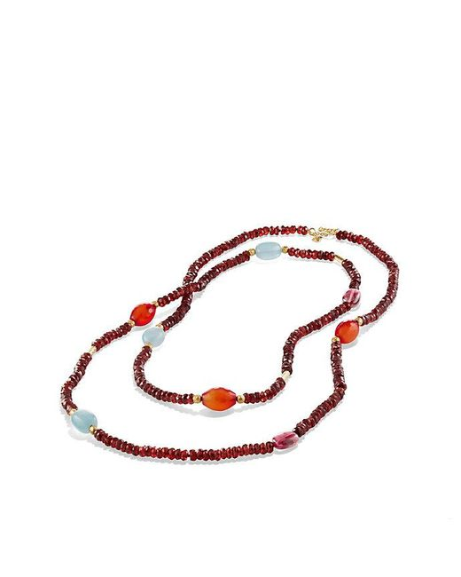 David Yurman - Multicolor Dy Signature Bead Necklace With Garnet And Pink Tourmaline In 18k Gold - Lyst